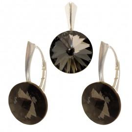 Poze Set cercei si medalion din argint cu cristale Swarovski Silver Night Foiled rivoli 12