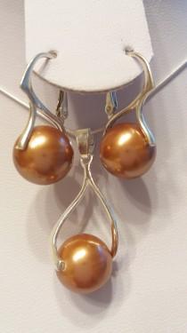 Poze Set cercei si medalion din argint cu Perle Mallorca maro 12