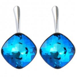 Poze Cercei din argint cu cristale Swarovski Bermuda Blue Foiled square rhinestone 12