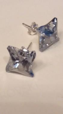 Poze Cercei din argint cu cristale Swarovski Blue Shade Foiled twister