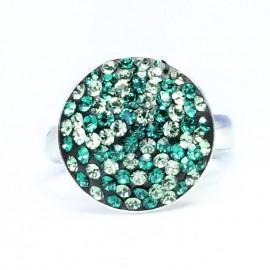 Poze Inel reglabil din argint cu Swarovski Elements Smarald ceralun 14