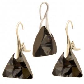 Poze Set cercei si medalion din argint cu cristale Swarovski Silver Night triangle