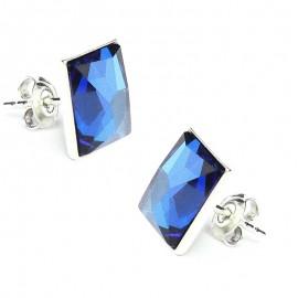 Poze Cercei din argint cu cristale Swarovski Bermuda Blue Chessboard 10