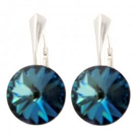 Poze Cercei din argint cu cristale Swarovski Bermuda Blue Foiled rivoli 12