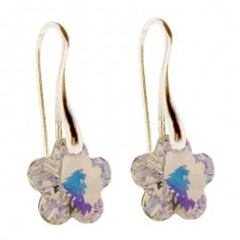 Poze Cercei din argint cu cristale Swarovski Crystal Aurore Boreale flower