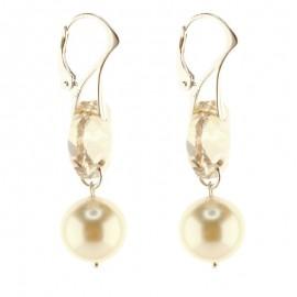 Poze Cercei lungi din argint, Swarovski Elementssi Perle de Mallorca Golden