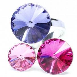 Poze Inel reglabil din argint cu 3 cristale Swarovski rivoli light rose, fuchsia si sapphire