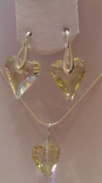 Set cercei si medalion din argint cu cristale Swarovski Luminous Green