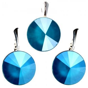 Poze Set cercei  si medalion din argint cu Swarovski Elements Azure Blue Unfoiled rivoli 14