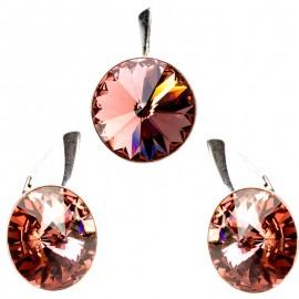Poze Set cercei  si medalion din argint cu Swarovski Elements Blush Rose Foiled rivoli 14