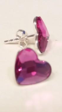 Poze Cercei din argint cu cristale Swarovski Fuchsia heart
