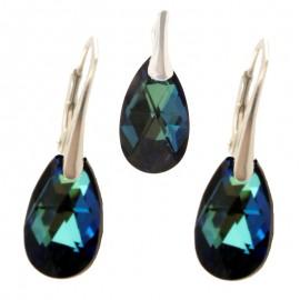 Poze Set cercei si medalion din argint cu cristale Swarovski Bermuda Blue pear