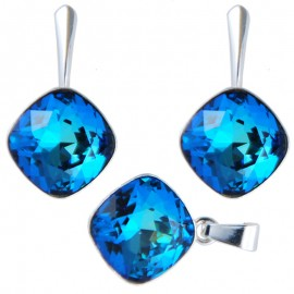 Set cercei si medalion din argint cu cristale Swarovski Bermuda Blue Foiled square rhinestone 12