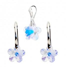 Poze Set Set cercei si medalion din argint cu cristale Swarovski Crystal Aurore Boreale flower
