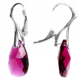 Poze Cercei argint cu cristale Swarovski Ruby pear