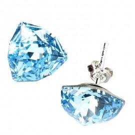 Poze Cercei din argint cu cristale Swarovski Aquamarine Foiled Trilliant Fancy Stone