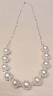 Poze Colier din argint cu perle de Malorca si cristale Swarovski