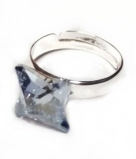 Inel reglabil din argint cu cristale Swarovski Blue Shade twister