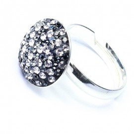 Poze Inel reglabil din argint cu Swarovski Elements White-Black ceralun 14