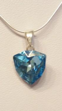 Poze Medalion din argint cu cristale Swarovski Aquamarine Foiled Trilliant Fancy Stone