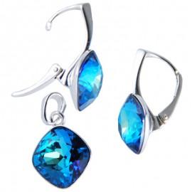 Poze Set cercei si medalion din argint cu cristale Swarovski Bermuda Blue Foiled square rhinestone 12