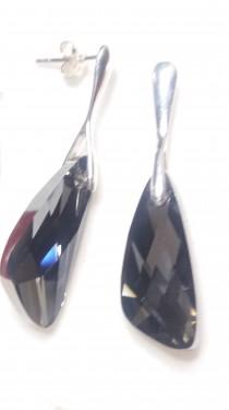 Poze Cercei din argint cu cristale Swarovski Crystal Silver Night wing