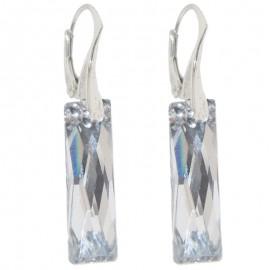 Poze Cercei  din argint cu Swarovski Elements Crystal Argent Light queen baguette  25