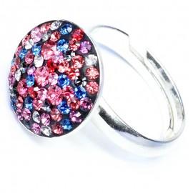 Inel reglabil din argint cu Swarovski Elements Multicolor ceralun 14