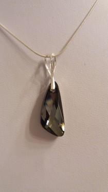 Poze Medalion din argint cu cristale Swarovski Crystal Silver Night wing