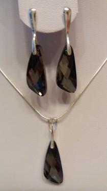 Poze Set cercei si medalion din argint cu cristale Swarovski Crystal Silver Night wing