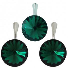 Poze Set cercei si medalion din argint cu cristale Swarovski Emerald Foiled rivoli 12