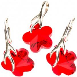 Poze Set cercei si medalion din argint cu cristale Swarovski Light Siam flower