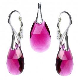 Poze Set cercei si medalion din argint cu cristale Swarovski Ruby pear