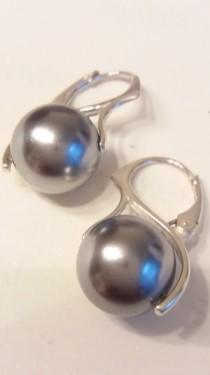 Poze Cercei din argint cu Perle Mallorca gri 12