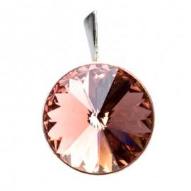 Medalion din argint cu cristale SwarovskiBlush RoseFoiled rivoli 14