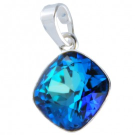 Poze Medalion din argint cu cristale Swarovski Bermuda Blue Foiled square rhinestone 12