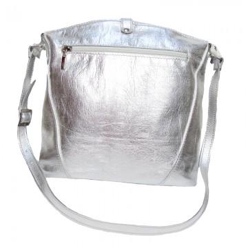 Poze Poşeta din piele naturală Silver Rebeca cu insertii Swarovski