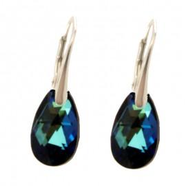 Cercei din argint cu cristale Swarovski Bermuda Blue pear