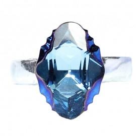 Poze Inel reglabil din argint cu cristale Swarovski Aquamarine Mettalic Blue Foiled