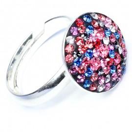 Poze Inel reglabil din argint cu Swarovski Elements Multicolor ceralun 14