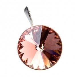 Poze Medalion din argint cu cristale SwarovskiBlush RoseFoiled rivoli 14