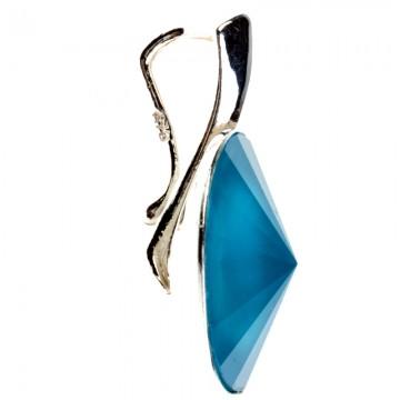 Poze Medalion din argint cu Swarovski Elements Blue Azure Unfoiled rivoli 14