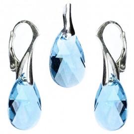 Poze Set cercei si medalion din argint cu cristale Swarovski Aquamarine pear