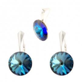 Poze Set cercei si medalion din argint cu cristale Swarovski Bermuda Blue Foiled rivoli 12