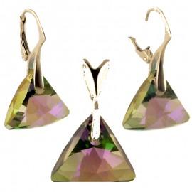 Poze Set cercei si medalion din argint cu cristale Swarovski Paradise Shine triangle