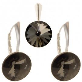Poze Set cercei si medalion din argint cu cristale Swarovski Silver Night Foiled rivoli 14