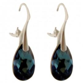 Poze Cercei din argint cu cristale Swarovski Bermuda Blue pear