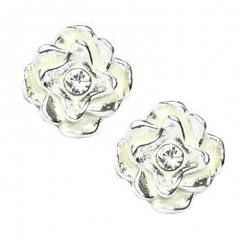 """Poze Cercei din argint cu model """"floare"""" si cristal alb"""