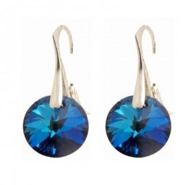 Poze Cercei  din argint cu Swarovski Elements Bermuda Blue  rivoli 12