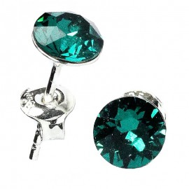 Poze Cercei din argint cu Swarovski Elements Emerald Foiled